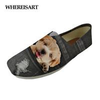 ingrosso stampe animali zapatos-WHEREISART Fashion Girls Casual Flats Shoes Cute Denim Animal Puppy Dog Cat Stampato per il tempo libero Scarpe in tela da donna Lover Zapatos