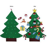 artesanía de fieltro diy al por mayor-Sentía el árbol de navidad con los ornamentos del niño 2019 árbol del Año Nuevo Juguetes arte de DIY decoraciones de Navidad artificial de Inicio