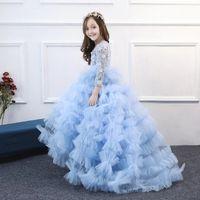 tutu das crianças azuis venda por atacado-Luxo para crianças menina luz azul nuvem ruffled trailing dança vestido de princesa / festa / evento palco desempenho tutu vestido