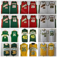 450fdfc60af Seattle Basketball Gary Payton Jersey 20 Men Kevin Durant 35 Shawn Kemp 40 Ray  Allen 34 Vintage Basketball Jerseys Uniform Red Green White