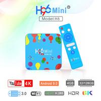 allwinner skype-tv-box großhandel-Bluetooth android tv box h96 mini 4 gb 32 gb 128 gb allwinner h6 2,4 g 5 g dual wifi android 9.0 smart tv box