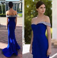 abendkleid blau silber großhandel-Klassische Royal Blue Mermaid Prom Dresses 2019 Silber Perlen Schulterfrei Langes Abendkleid Partykleid Vestidos De Fiesta 07