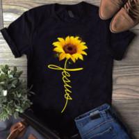 camisa de dibujos animados damas al por mayor-Girasol Jesús Camisa de algodón negro para mujer Camisa de dibujos animados Camiseta Hombre Unisex Nueva camiseta de moda Envío gratis Funny Tops