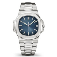 relógio mecânico de prata venda por atacado-Top Nautilus Assista Men Automatic Casual Relógios 5711 Silver Strap Azul Stainless Mens Mecânica Orologio di Lusso Relógio de Pulso Data Chrono