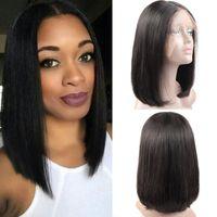 bakire saç kökü toptan satış-İnsan Saç Bob Peruk Brezilyalı Bakire Saç Düz Dantel Ön Kısa Saç Siyah Kadınlar Için peruk İsviçre Dantel Frontal Peruk Bob 8-14 inç