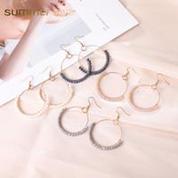ingrosso orecchini fatti a mano-2019 New Bohemian Handmade vetro perline Hoop ciondola orecchino per le donne colorate in lega d'oro orecchino di goccia regalo di gioielli di moda