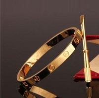 fashion jewelrys بالجملة-الحب سحر سوار الفولاذ الصلب أساور بيان للنساء 18kgp الذهب تراكب صفعة أساور الأزياء البوهيمي فام pulseiras مجوهرات