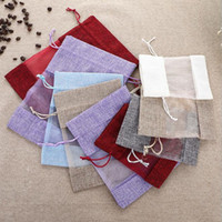 Wholesale small drawstring bags resale online - 10 cm Burlap Pouches Linen With Organza Window jute Drawstring Pouch Small Jewelry Packing Party Wedding Favors Storage Gift Bags