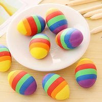 Wholesale 1PC Colorful Egg Shape Eraser Cute Pencil Erasers Student Stationery Primary School Office Supplies Kids Prize Reward Gift