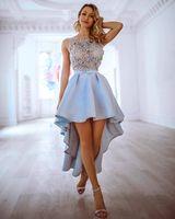 vestidos de damas de honor grises sexy al por mayor-2019 Vestidos de fiesta elegantes de encaje azul cielo con apliques Vestido de fiesta corto sexy Vestido de fiesta de graduación Hi-Lo Vintage Desfile de noche Dama de honor
