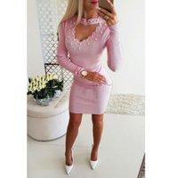 vestido de lápiz de color rosa caliente al por mayor-HOT Sexy Mujeres Bodycon Strappy V Pearl Trendy Party Lápiz Vestido Rosa Azul Oscuro Gorgeous Cool Summer Girls Dress