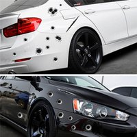 Wholesale new waterproof cover resale online - New Arrival Car Stickers D Bullet Hole Funny Decal Car covers Motorcycle Scratch Realistic Bullet Hole Waterproof Stickers