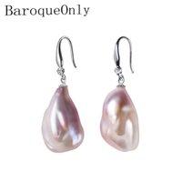 ingrosso guscio di perle barocco-Barocco genuino barocco orecchini di perle, gioielli alla moda fine 15-23 mm perle irregolari orecchini per le donne regali eb SH190715