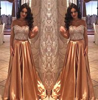 Wholesale beaded empire cap sleeve resale online - Gold Sequins Evening Dresses Long Off The Shoulder Sleeves Beaded Piece Prom Dresses Plus Size Formal Dresses Party Gowns