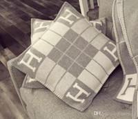 ingrosso arti decorative-Cuscino a strisce lettera H Cuscino decorativo di lusso per divano auto Tiro Cuscino Home Decor Art 45 * 45cm