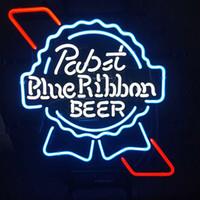 neonblaue glühbirnen großhandel-Nach Maße Pabst Blue Ribbon Neon Sign Lichtechtglas Neon Glühbirnen Rohr Kunst Beer Bar Shop-Pub Shop-Club Garage Wand-Dekor 24 * 20