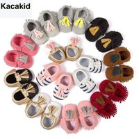 Wholesale baby moccasins resale online - Kacakid Baby Shoes PU Suede Leather Newborn Baby Boy Girl Moccasins Soft Shoes Fringe Soft Soled Non slip Crib First Walkers