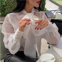 tül kadın gömlekleri toptan satış-Ücretsiz Gemi Kadın Bluzlar Gömlek Tops Papyon Ince Tül Şeffaf Fener Kollu Zarif Bayanlar Famale Casual Blusas See Through