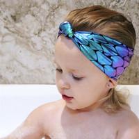 ingrosso cravatta di blocco-Bastoncini per capelli per bambini Tessuto di alta qualità Sirena Bilancia a forma di pesce Forza elastica Cravatta a gradiente colorata Cartone animato individuale Confezione 50