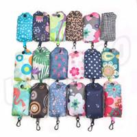 Wholesale folding shopping bag polyester for sale - Fashion Polyester fiber Shopping Bag Portable Handbag Foldable Environmental Protection storage Bag Advertising Gift Bag T9I003