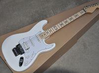электрическая гитара оптовых-Фабрика прямых продаж Белая электрогитара с звукоснимателями SSH, Floyd Rose, Кленовым грифом, Star Inlay, предлагая индивидуальные услуги