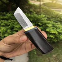 ingrosso coltello in acciaio giapponese-Offerta speciale Piccolo Giappone Samurai Sword VG10 Acciaio di Damasco Tanto Blade Manico in ebano Mini Coltello da collezione Coltello regalo