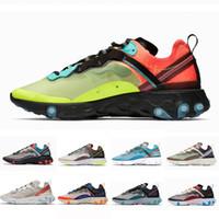 zapatos de color azul oscuro al por mayor-Nike Volt Royal Tint Total Orange React Element 87 Running Shoes For Women men Dark Grey Blue Chill Trainer 87s Sail Sports Sneakers