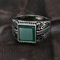 Wholesale mens sterling silver stone rings resale online - 925 Sterling Silver Rings Mens Rings Vintage Flower Engraved Black Green Red Imitated Stone Square Shape Punk Turkey Jewelry J190716