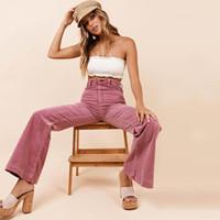 yeni stil kadın pantolon toptan satış-Bayan Pantolon 2019 İlkbahar ve Sonbahar Yeni Moda Flare Pantolon Retro Tarzı Kadife Pantolon Sokak Stil Pembe Pantolon Kadın