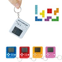 Wholesale game educational resale online - Mini Tetris Game Player Keychain Fashion Portable LCD Handheld Game Players Children Educational Electronic Toys TTA1995