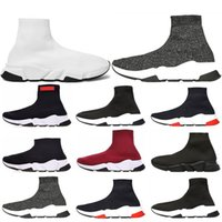 Wholesale red cycling socks for sale - Group buy Hot New Speed Trainer Luxury Shoes all red grey black white Flat Classic Socks Boots Sneakers Women Trainers Runner size
