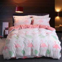 quilt cover king blau großhandel-Luxus Designer Bettwäsche Set Bettbezug Bettdecke blau grüne Tagesdecken Baumwoll-Seidenbettwäsche Bettwäsche Queen Queen-Size-Doppel