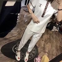 camiseta mulheres denim venda por atacado-2019 Chegadas de Verão woMens agasalho de manga curta T-shirt e shorts casuais hoodies terno de esportes conjunto de esportes das mulheres Em Torno do pescoço Esporte