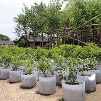 ingrosso piante in vaso bianco-Riutilizzabile rotondo bianco tessuto non tessuto a maglia morbida altamente traspirante crescere vasi di piante sacchetto di aerazione contenitore giardino con manici grande fiore