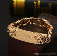 Wholesale titanium chains for men resale online - Luxury Designer gold bracelets big brand style charm stainless steel Medusa punk double head bracelet jewelry for women men