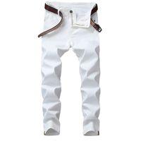 jeans blancos diseñados para hombres al por mayor-Moda Jeans blancos Hombres pantalones elásticos ocasional adelgaza Clásico propuso personales Diseño Pantalones para hombre de Hip Hop Jeans