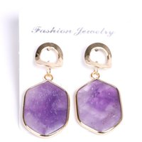 Wholesale amethyst oval stone resale online - Pairs Gold Plated Oval Shape Tiger Eye Stone Stud Earrings for Women Amethyst Crystal Jewelry
