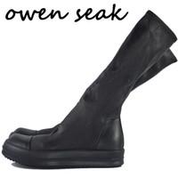 botas brancas altas joelho alto venda por atacado-Owen Seak Mulheres Sapatos joelho alta botas de couro de carneiro Luxo Trainers Inverno sapatilha Flats Sapatos casuais Black White Big Size