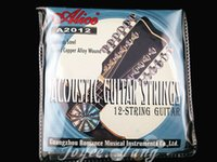 guitarras acústicas de 12 cuerdas. al por mayor-Alice A2012 12 cuerdas de la guitarra acústica Cuerdas de acero inoxidable recubierto de cobre de la herida Cuerdas primero a 12º envío