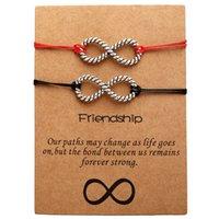 einstellbares paar armband großhandel-2019 Zusammen Forever Love Infinity Armband für Liebhaber Red String Paar Armbänder Schmuck Geschenk einstellbar 2019 Boho-Stil