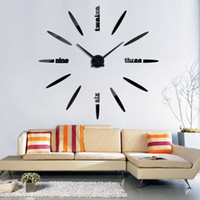 übergroße glocken großhandel-Wandaufkleber Uhr 3D Übergroße Glocke DIY Paster Runde Uhren Wohnzimmer Einseitig Kreative Mode Goldene Silbrig 28wt C1