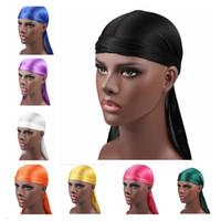 Wholesale bandana male resale online - Men durags Silky Durag mens designer hat Hats Caps Satin Bandana Turban Wigs Headwear Headband Pirate Hat Male Hair Accessories
