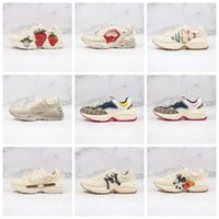 Wholesale plaid sneakers mens resale online - xshfbcl Mens Rhyton Casual Shoes Dad Sneaker Paris Fashion Women Shoe Platform Sports Strawberry Wave Mouth Tiger Web Print