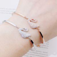 schmuck diamant kristall armband armband großhandel-Mode Silber Kette Kristall Diamanten Armband Armreif Einstellbare Einfache Armbänder Swan Armband Frau Hochzeit Schmuck Frau Geschenke