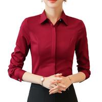 moda mulheres escritório vestido venda por atacado-Primavera Moda Feminina Roupas de Manga Longa Magro Vermelho Vestidos Formais Chiffon Camisa Das Senhoras Tamanho Grande Blusa Escritório de Verão Superior