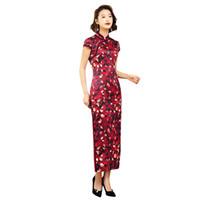 damas chinas cheongsam al por mayor-2019 Red New Stylish Ladies vestidos tradicionales chinos hechos a mano botón Qipao mandarín Sexy Rayon impresión Cheongsam S-XXXL
