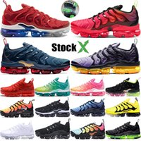 Wholesale brown golf shoes for sale - Group buy 2020 Stock X Vapors TN Plus USA Black Laser Crimson Mens Running Shoes Designer Midnight Navy Sunset Sneaker Women Trainers Maxes Size