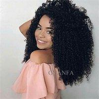 peluca rizada llena al por mayor-Afro Kinky Curl Cordón completo Pelucas de cabello humano con pelo de bebé Pelo virginal 150% Densidad Nudos blanqueados Pelucas naturales Frente de encaje Pelucas