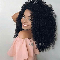 tam kinky curl peruk toptan satış-Afro Kinky Curl Tam Dantel İnsan Saç Peruk Bebek Saç Ile Bakire Saç 150% Yoğunluk Ağartılmış Knot Doğal Saç Çizgisi Dantel Ön Peruk