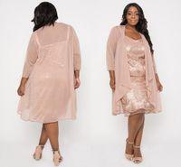 ingrosso giacca per il vestito da promenade di due parti-Blush Pink Plus Size Paillettes Madre della sposa Abiti con giacca al ginocchio Lunghezza due pezzi Madre abito da sera partito formale Prom
